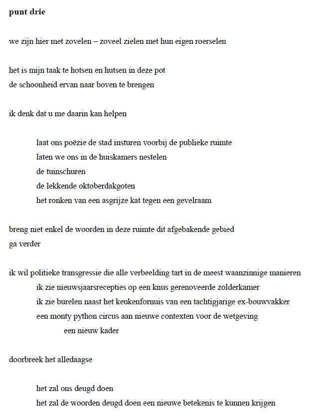 een manifest voor de poëzie punt drie