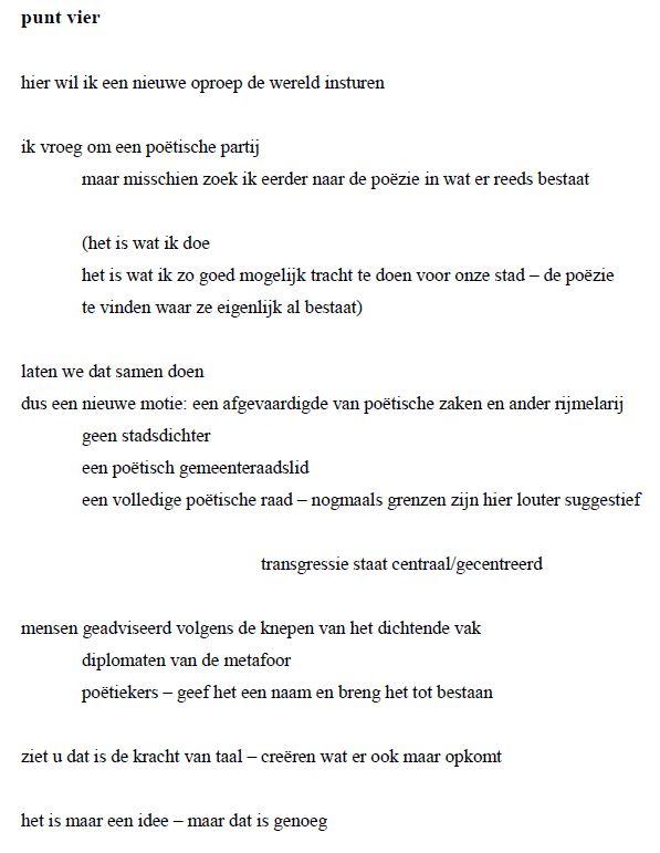 een manifest voor de poëzie punt vier