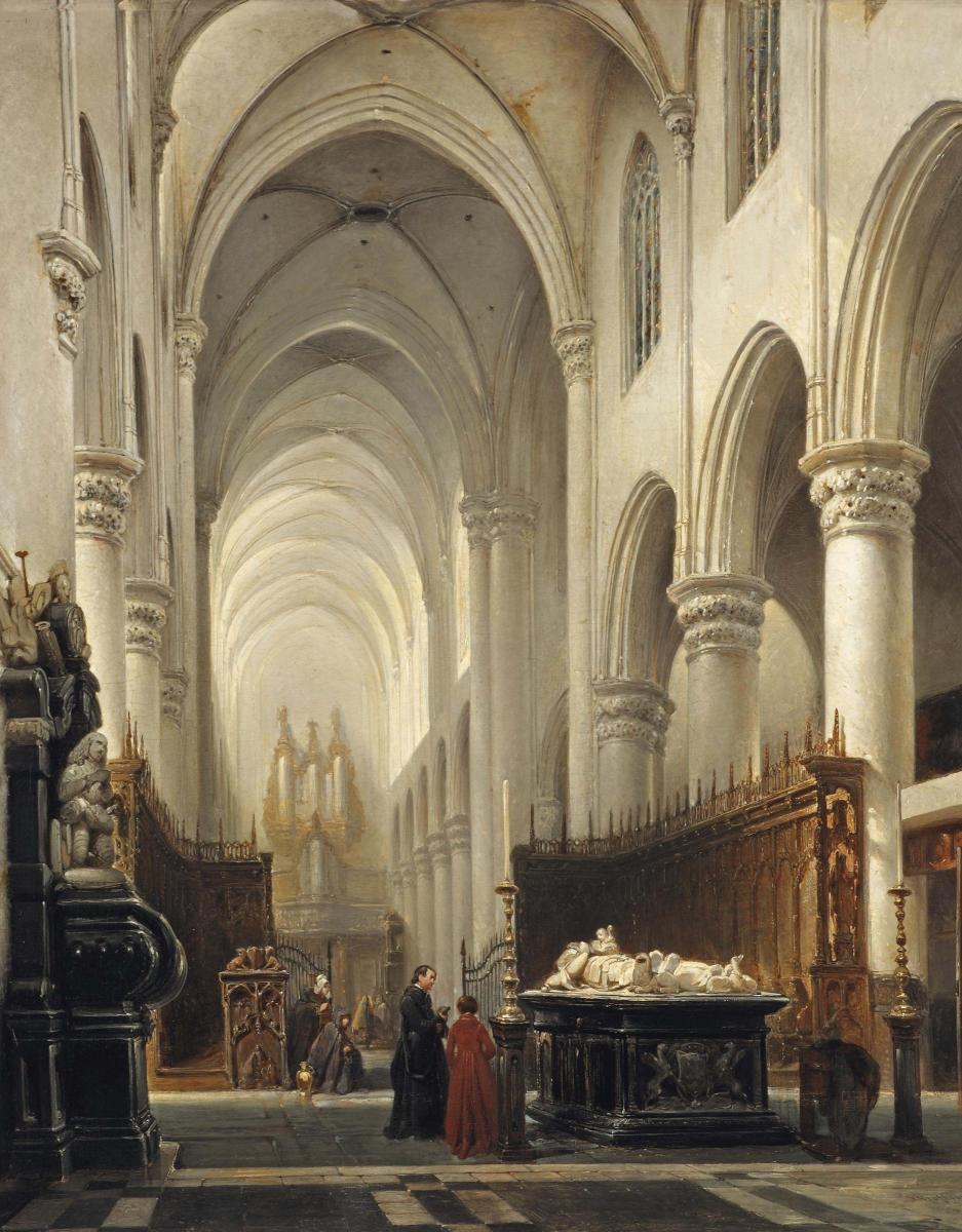Het interieur van de Sint-Katharinakerk in 1843