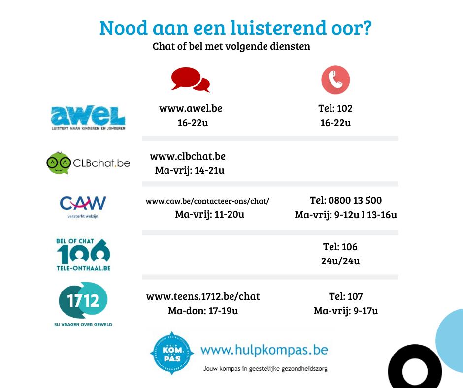 Chat of bel met volgende diensten