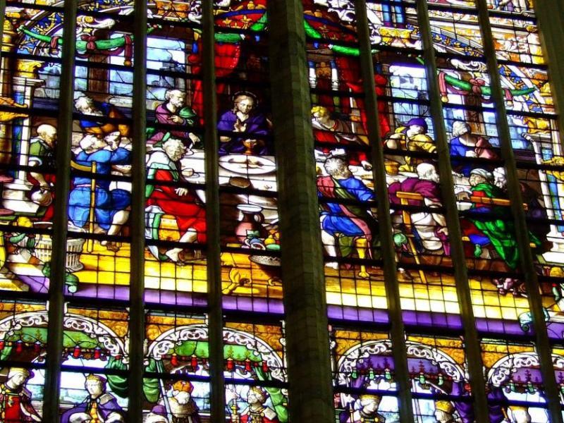 Glasraam Het laatste avondmaal Sint-Katharinakerk Hoogstraten